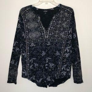 Lucky Brand | Black Boho Split Back Shirt SMALL